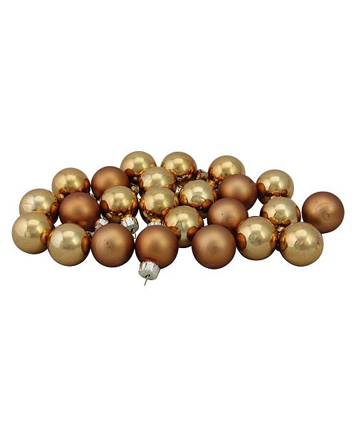 "Northlight 24-Piece Shiny and Matte Copper Orange Glass Ball Christmas Ornament Set 1"" 25mm"