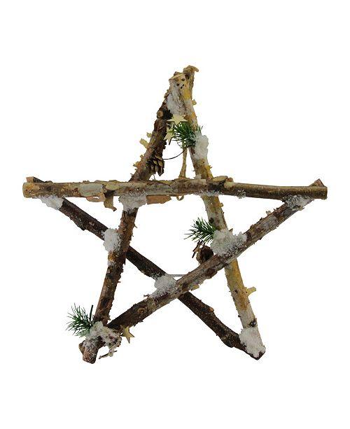 "Northlight 13.75"" Medium Rustic Snowy Wooden Branch Star Shaped Christmas Ornament"
