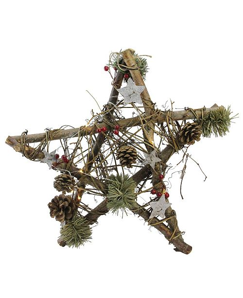 "Northlight 15.75"" Wooden Star with Pine Cones and Twigs Rustic Christmas Ornament"