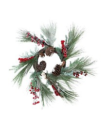 """32"""" Festive Red Berries Pine Cones and Green Pine Sprigs Artificial Christmas Wreath - Unlit"""