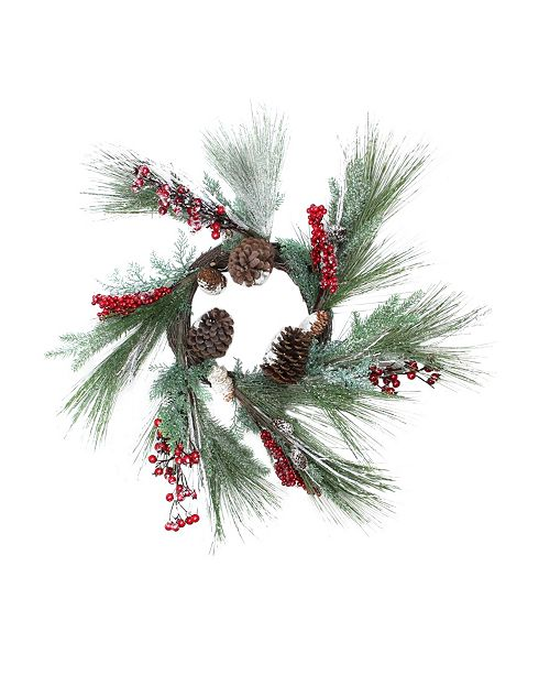"""Northlight 32"""" Festive Red Berries Pine Cones and Green Pine Sprigs Artificial Christmas Wreath - Unlit"""