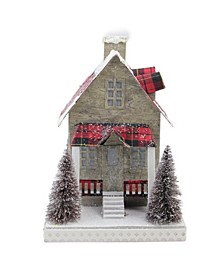Holiday Moments Lit with Led Tartan House Christmas Decoration - Warm White Lights