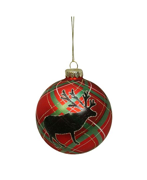 "Northlight Plaid Design with Reindeer Silhouette Glass Christmas Ball Ornament 4"" 100mm"