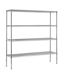 Shelf Steel Shelving Unit In Chrome Finish