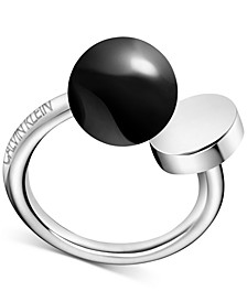 Bubbly Onyx Statement Ring in Stainless Steel
