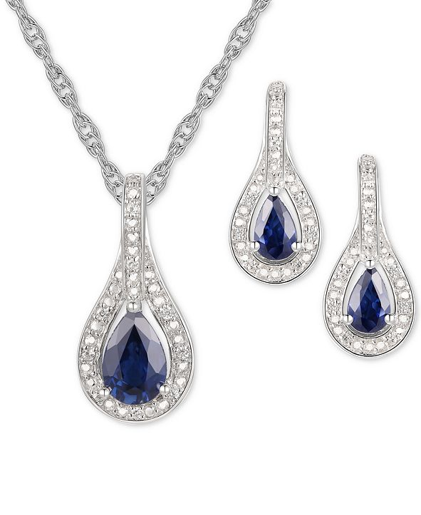 Macy's 2-Pc. Set Sapphire (1 ct. t.w.) & Diamond (1/20 ct. t.w.) Pendant Necklace & Matching Drop Earrings in Sterling Silver (Also available in Ruby or Emerald)