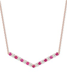 "Certified Ruby (5/8 ct. t.w.) & Diamond (1/20 ct. t.w.) Chevron 16"" Statement Necklace in 14k Rose Gold-Plated Sterling Silver"