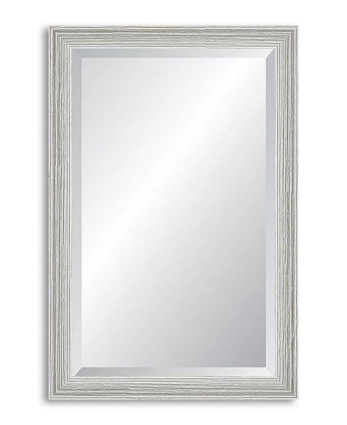 Reveal Frame & Decor Reveal Weathered Whitewash Beveled Wall Mirror