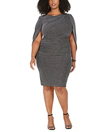 Plus Size Metallic-Knit Cape Dress