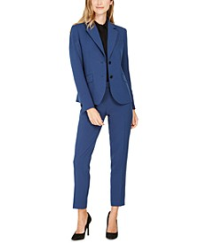 Pinstriped Blazer, Cap-Sleeve Blouse & Pinstriped Tab-Waist Pants