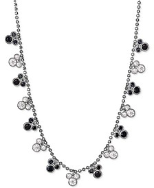 """Black Spinel & Cubic Zirconia Mickey Mouse 18"""" Station Necklace in Sterling Silver"""