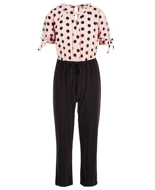 Monteau Big Girls Polka-Dot Jumpsuit