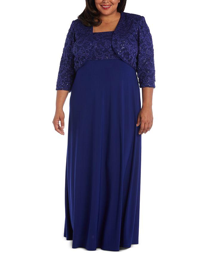 R & M Richards - Plus Size Lace Poncho Gown