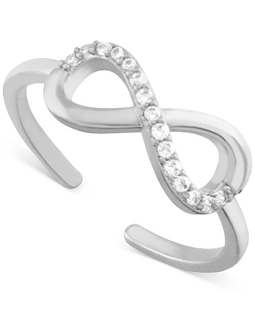 Essentials Crystal Infinity Toe Ring in Fine Silver-Plate