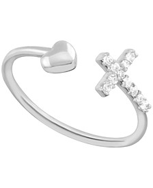 Crystal Cross & Heart Open Toe Ring in Fine Silver-Plate