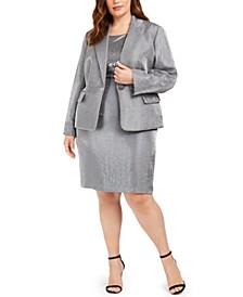 Plus Size Metallic Single-Button Blazer, Square-Neck Sequined Top & Metallic Pencil Skirt