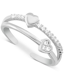 Crystal Heart Two-Row Toe Ring in Fine Silver-Plate