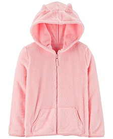 Big & Little Girls Ears Fuzzy Zip-Up Hoodie