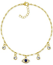 Blue Evil Eye Crystal Station Anklet in Gold-Plate