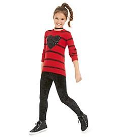 Big Girls Heart Sweater & Velvet Leggings, Created for Macy's