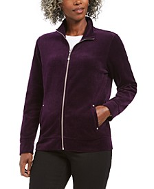 Petite Velour Zip-Front Jacket, Created For Macy's
