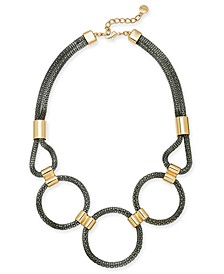 "Two-Tone Mesh Multi-Circle Statement Necklace, 17"" + 2"" extender, Created For Macy's"