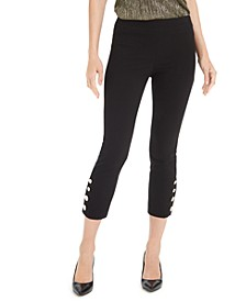 Petite Button-Trim Pants, Created For Macy's
