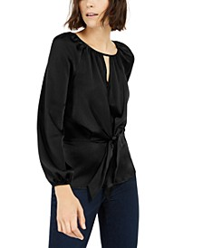 INC Pebbled Satin Tie-Front Blouse, Created For Macy's