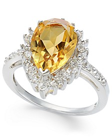 Citrine (2-7/8 ct. t.w.) & Diamond (1/4 ct. t.w.) Statement Ring in Sterling Silver
