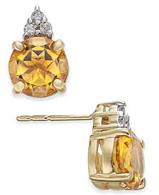 Citrine (1-1/2 ct. t.w.) & Diamond (1/20 ct. t.w.) Stud Earrings in 14k Gold