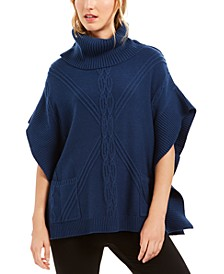 Cowl-Neck Mixed-Stitch Poncho Sweater