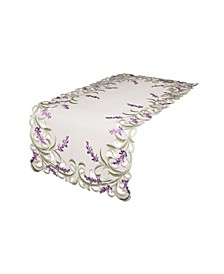 """Lavender Lace Embroidered Cutwork Table Runner, 15"""" x 53"""""""