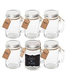 16 Ounce Retro Mason Jar Mug with Chalkboard Label and Tin Lid - Pack of 6