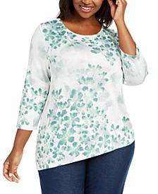 Plus Size Lake Geneva Leaf Print Asymmetrical Hem Top