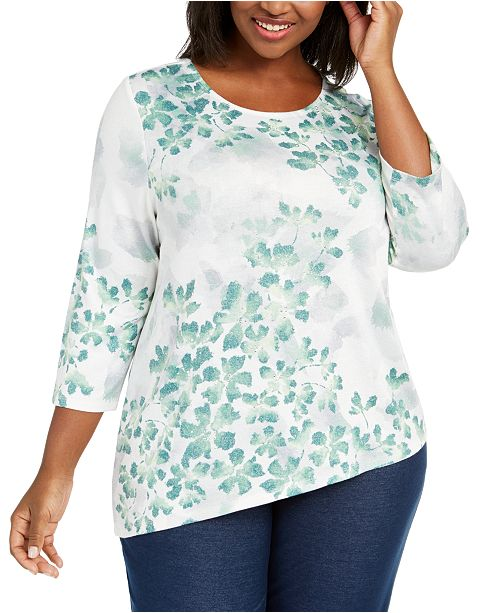 Alfred Dunner Plus Size Lake Geneva Leaf Print Asymmetrical Hem Top