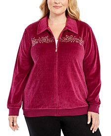 Plus Size Bright Idea Embellished Velour Jacket