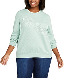 Plus Size Lake Geneva Floral Embroidered Top