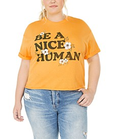 Trendy Plus Size Cotton Be A Nice Human Graphic T-Shirt