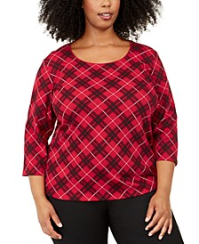 Plus Size Plaid 3/4-Sleeve Top, Created For Macy's