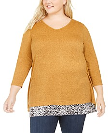 Plus Size Layered-Look Button-Back Top