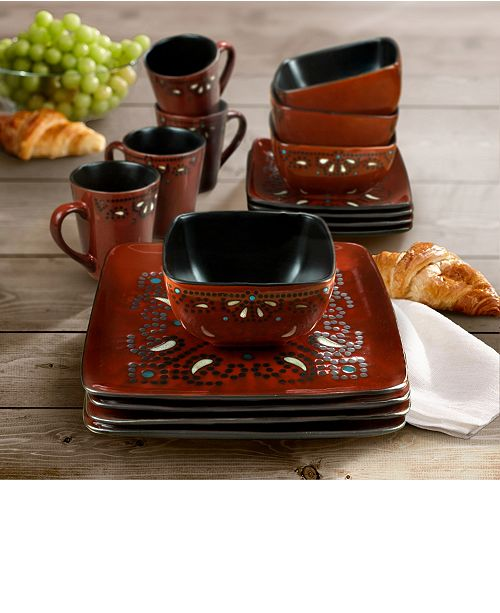Jay Imports Marquee Red 16 Pc Dinnerware Set