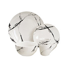Jay Imports Marble Black Coupe 16Pc Dinnerware Set