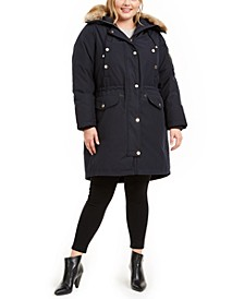 Plus Size Hooded Faux-Fur-Trim Parka Coat