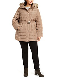 Plus Size Hooded Belted Puffer Coat With Faux-Fur Trim