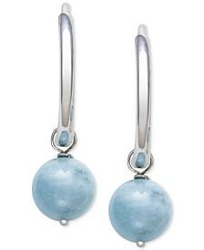 Milky Aquamarine (8mm) Dangle Hoop Earrings in Sterling Silver