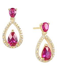 Certified Ruby (1-1/5 ct. t.w.) & Diamond (1/20 ct. t.w.) Openwork Teardrop Drop Earrings in 14k Gold-Plated Sterling Silver