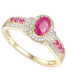 Certified Ruby (3/4 ct. t.w.) & Diamond (1/10 ct. t.w.) Ring in 14k Gold-Plated Sterling Silver