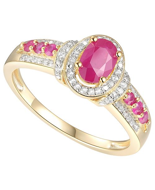 Macy's Certified Ruby (3/4 ct. t.w.) & Diamond (1/10 ct. t.w.) Ring in 14k Gold-Plated Sterling Silver