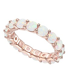 Lab Created Opal Eternity Band (2 ct. t.w.) in 14k Rose Gold-Plated Sterling Silver