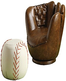 Leather Upholstered Baseball Glove Chair and Ottoman